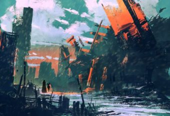 disaster city,apocalyptic scenery,illustration painting